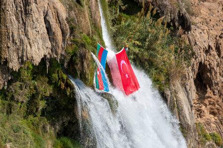 Antalya - Turkey, November 2, 2020, Flags of Azerbaijan and Turkey in Antalya Duden Waterfall 新闻类图片