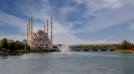 Adana / Turkey, Sabanci Central Mosque view. Travel concept photo. 新闻类图片