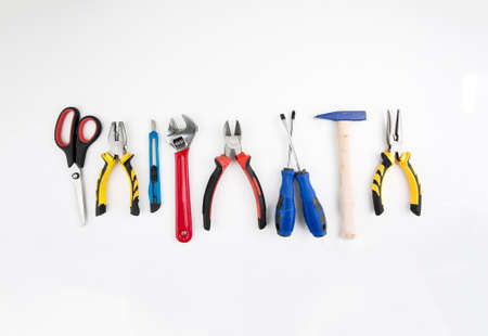 Industrial work tools, Set of tools isolated