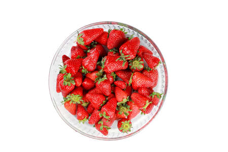 Fresh organic strawberry fruits on the white background