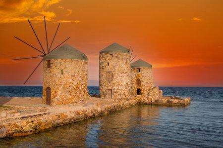 Greece island; Chios island historical windmill. Travel concept photo.