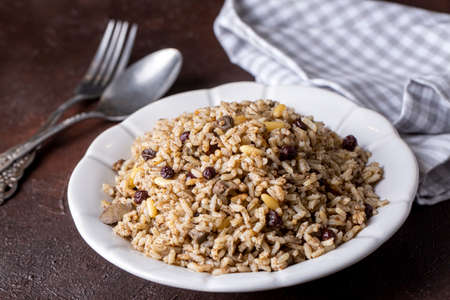 Traditional delicious Turkish food; rice pilaf with pine nuts and currants (Turkish name; ic pilav or pilaf)