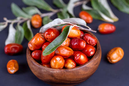 Fresh raw silverberry fruits, oleaster or russian olive (Elaeagnus)