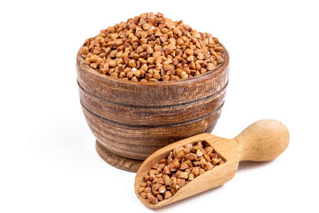 Buckwheat. Diet concept - Background texture of buckwheat - Macro shot of buckwheat texture.