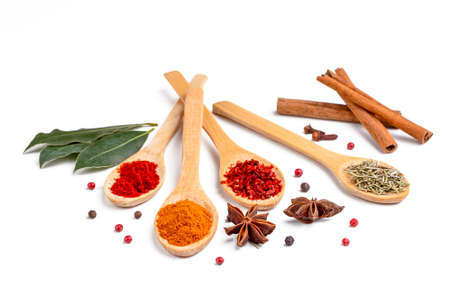 Assorted various spices on the white background 免版税图像