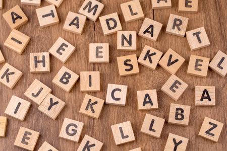 Wooden alphabet on the wooden table 免版税图像