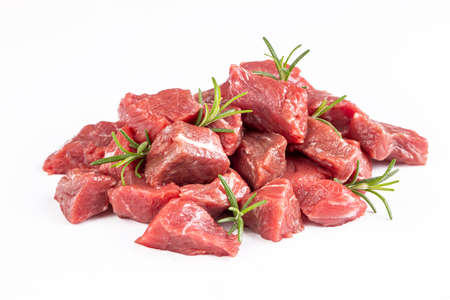 Heap of raw chopped beef isolated on white background