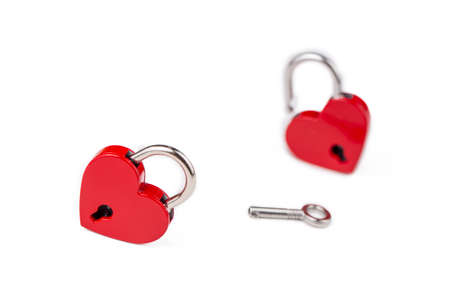 Red heart lock on the white background. Valentine's day concept. 免版税图像