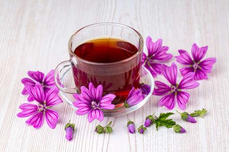 Mallow herb (Malva Vulgaris) mallow flower tea in cup.