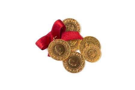 Traditional Turkish gold coins (Turkish name; Ceyrek altin) 免版税图像