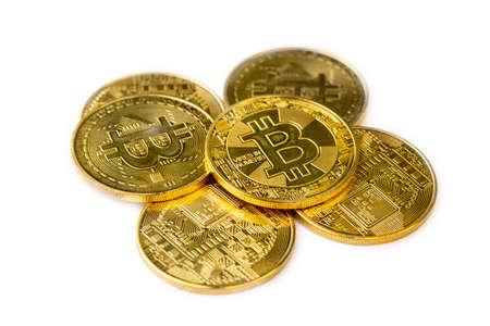 Golden bitcoin on isolate white background. 免版税图像