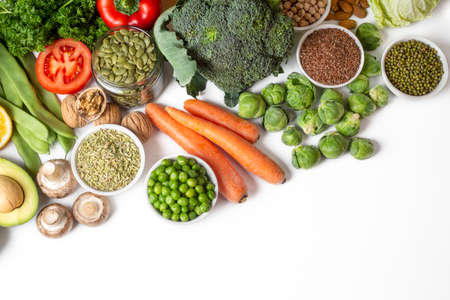Healthy diet vegetables background. Clean and detox eating. 免版税图像