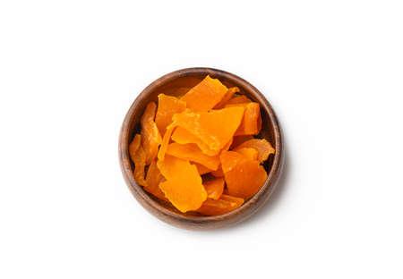 Dried mango fruit on a white background