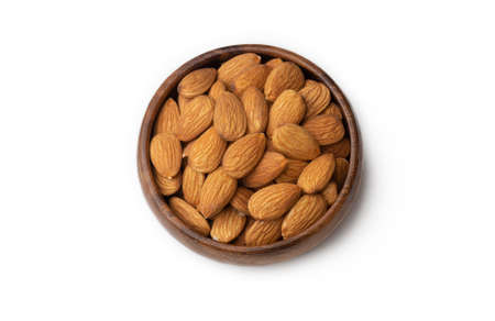 Dried almond on the white background 免版税图像