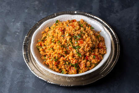 Traditional delicious Turkish foods: bulgur salad (kisir)