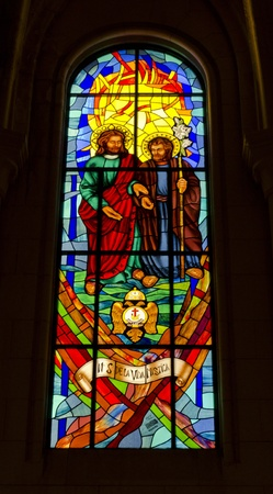 christanity: Stained Glass in Madrid s Almudena Cathedral - Spain