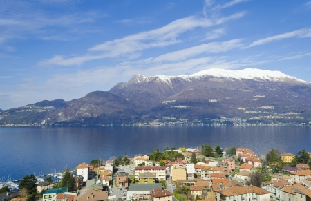 Aerial view of the village of Varenna and Lake Como - Italy