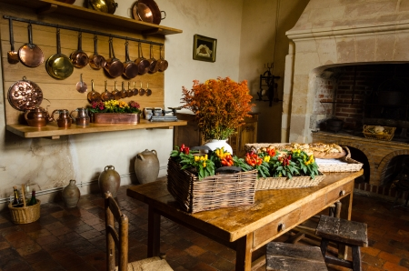 Rustic kitchen of Villandry Castle � France
