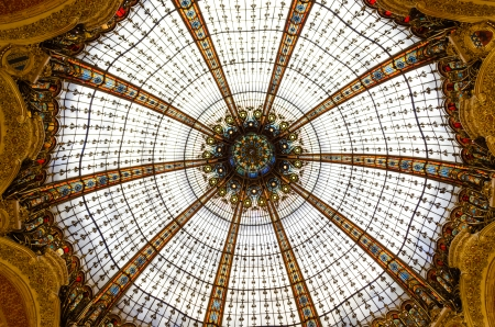 lafayette: The Dome of Galeries Lafayette in Paris - France Stock Photo