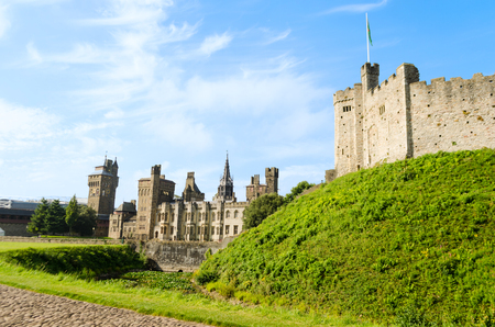 cardiff: Exterior of Cardiff Castle – Wales, United Kingdom Editorial