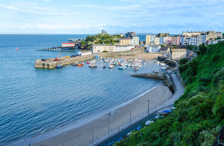 tenby wales: Sunset on Tenby, Pembrokeshire � Wales, United Kingdom Stock Photo