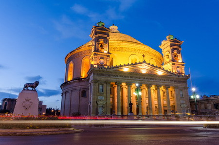 black history: Mosta dome at night  Malta Stock Photo