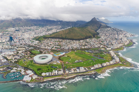and south: Aerial view of Cape Town  South Africa