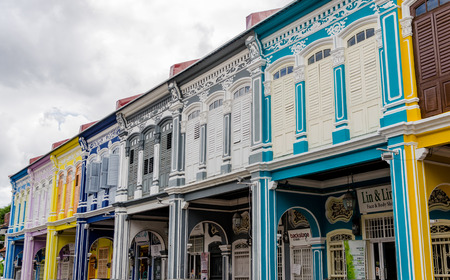 georgetown: Colourful Colonial Houses of Georgetown in Penang, Malaysia Editorial