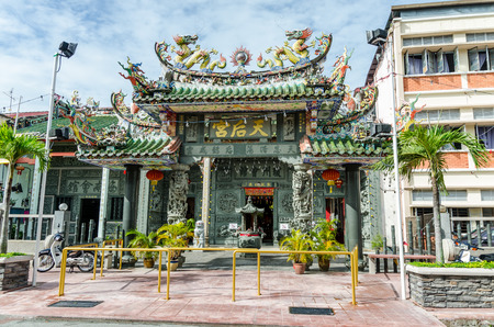 landmark: The entrance to Hainan Temple of George Town in Penang, Malaysia Editorial