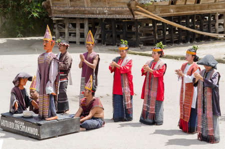 Batak people of Samosir Island perform their traditional dance in Sumatra, Indonesia