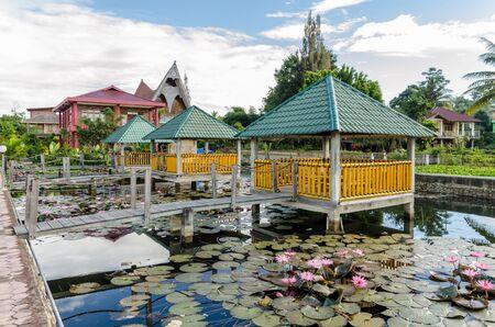 sumatra: A resort on Samosir island in Lake Toba, Sumatra Indonesia Stock Photo