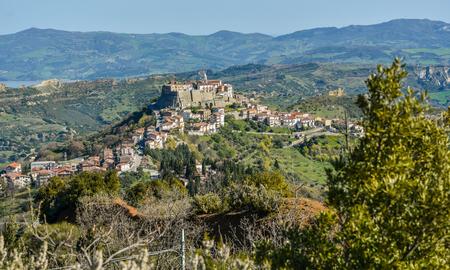 View over the village of Noepoli in Basilicata, Italy Stock Photo