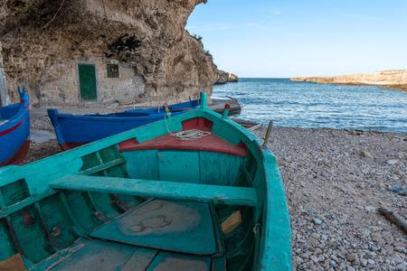 Fishing boats in Torre Incina in Puglia, Italy