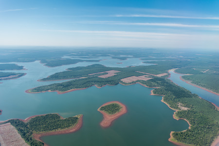 cascade: Aerial View of Iguazu River in Misiones province, Argentina Stock Photo