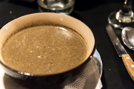 calafate: Mushroom soup served in a restaurant of El Calafate, Argentina