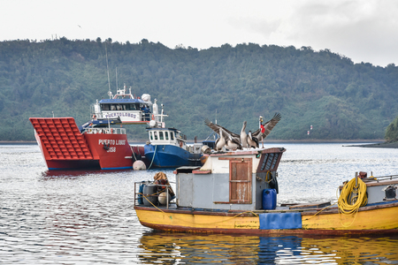 Harbour near Angelmo Fish Market in Puerto Montt, Chile Stock Photo