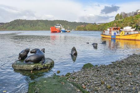 チリ プエルトモント Angelmo 魚市場の近くの港します。