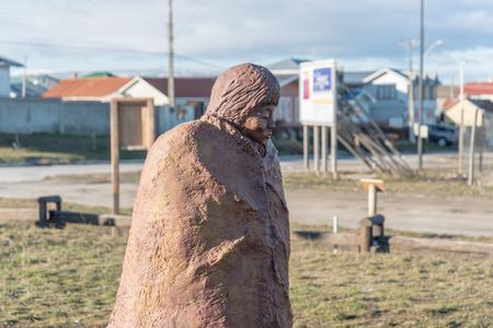 tierra: Statue of a Selknam in Porvenir, Tierra del Fuego Chile