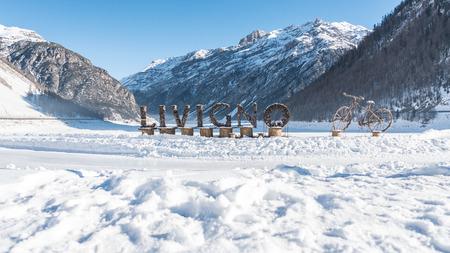 Livigno 로그인 겨울, 이탈리아 스톡 콘텐츠