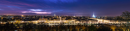 Evening skyline of Turin in Italy