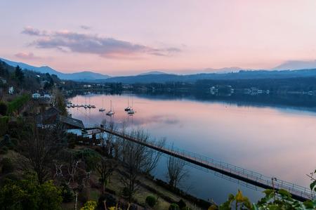 Sunset on Avigliana Lakes in Piedmont, Italy 写真素材