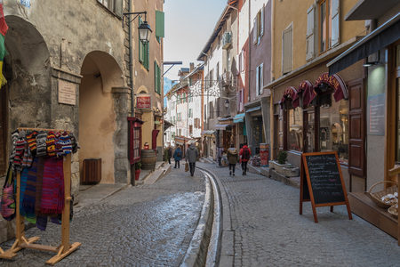Main road in the historical centre of the fortified city of Briancon in the Hautes Alpes, France Redakční