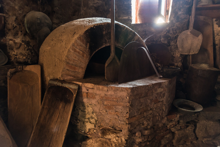 The old oven in the monastery of Grand Meteoron in Northern Greece Stock Photo