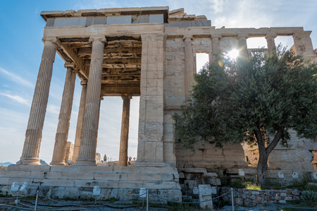 The ancient Parthenon at the Acropolis Hill in Athens, Greece Stok Fotoğraf
