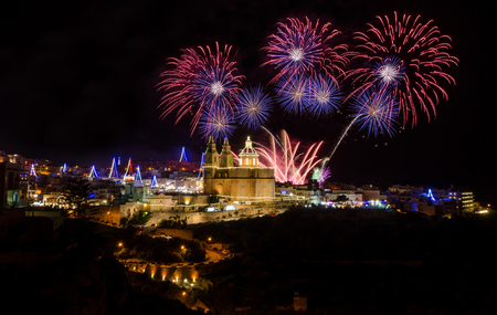 Fireworks display for the village feast of Our lady in Mellieha - Malta