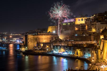 Fireworks in Valletta for the Malta Fireworks Festival 스톡 콘텐츠