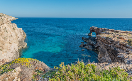 Natural Arch in Ras Hamrija along the Southern Coast of Malta