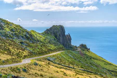 The western coast of the island of Flores in the Azores, Portugal Stock Photo