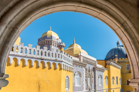 The colourful Palacio de Pena located in the outskirts of Sintra in Portugal