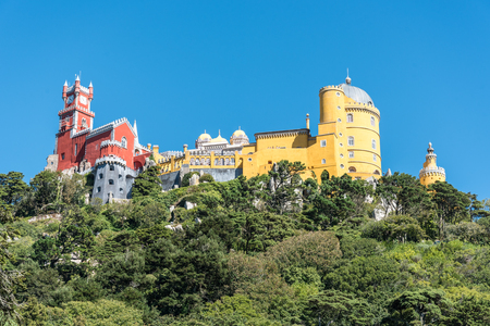 Panoramic view of Pena Palace in the outskirts of Sintra in Portugal